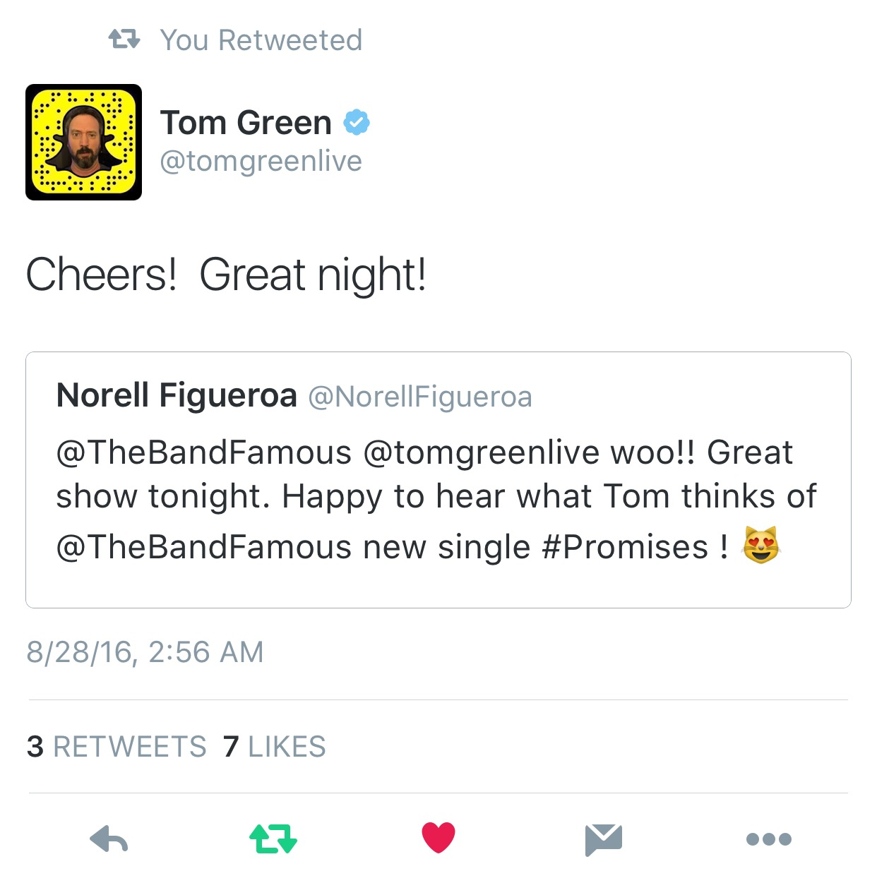 Tom Green Likes The Band Famous - Phonix Intl