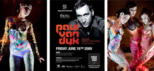 Zander body painting alongside DJ Paul Van Dyk
